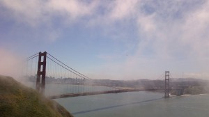 Le golden gate sous la brume